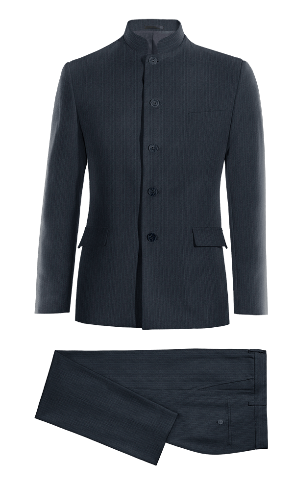 Blue Mao striped Merino wool Suit