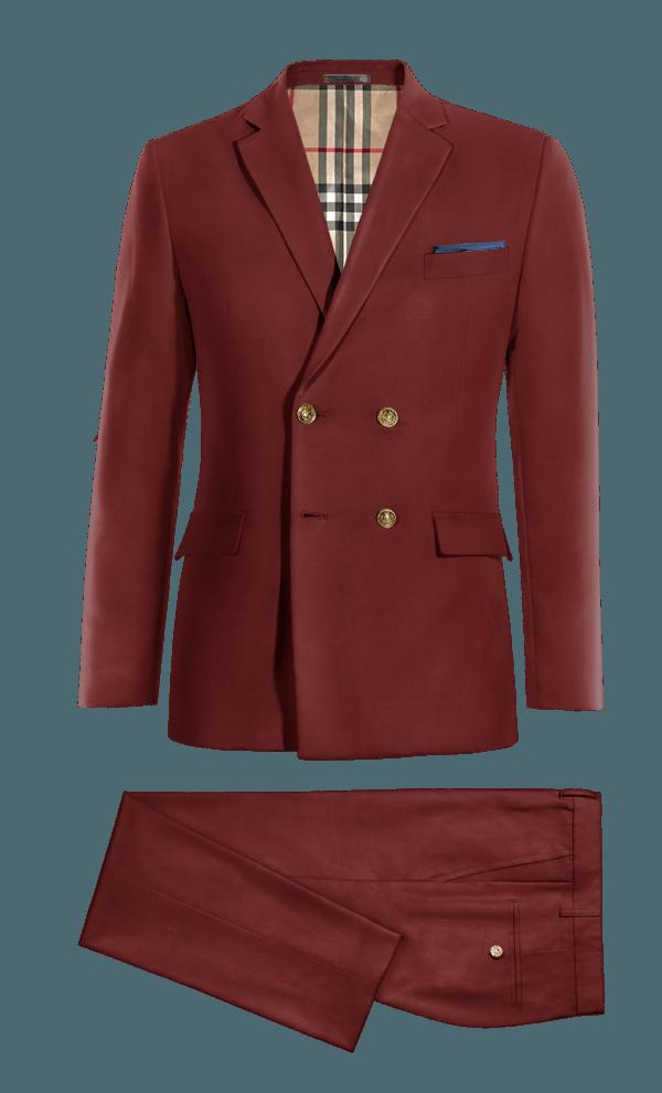 Costume rouge croisé en Coton