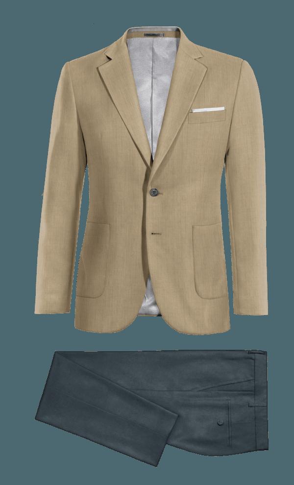Veste gris 100% laine & Chino bleu coupe cintrée