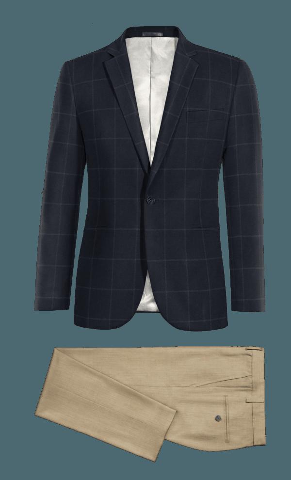 Veste bleu en Laine & Pantalon gris coupe cintrée 100% laine