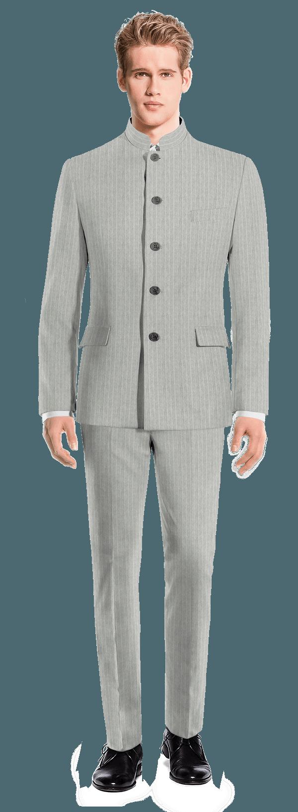 Costume gris Mao à rayures en Lin