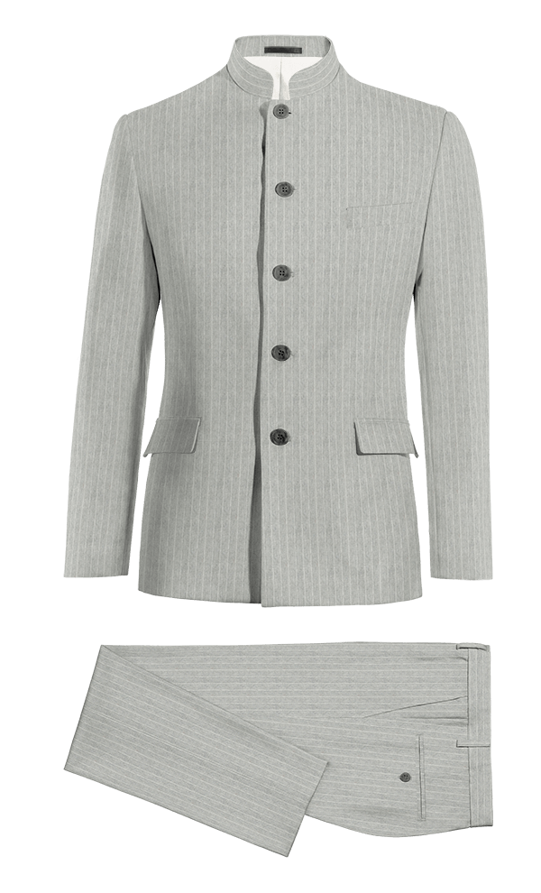 Grey Mao striped linen Suit