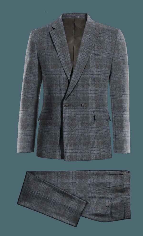 Costume gris croisé à carreaux en tweed