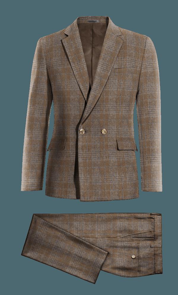 Costume marron croisé à carreaux en tweed