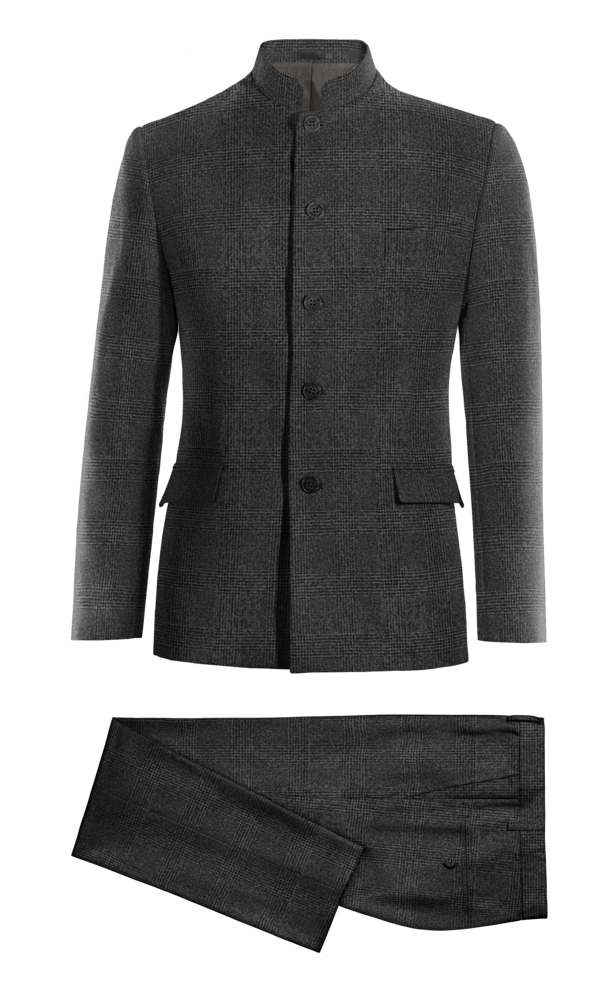 Costume gris Mao à carreaux en tweed