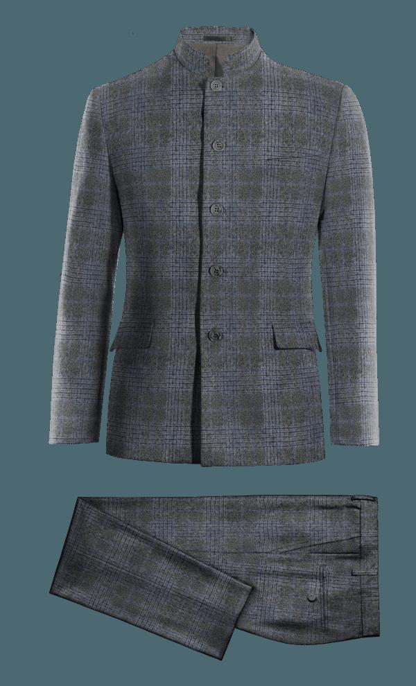 Costume gris Mao à carreaux en tweed