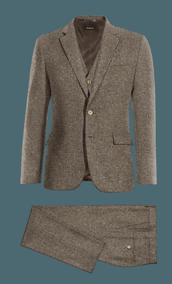 Costume marron 3 pièces en tweed