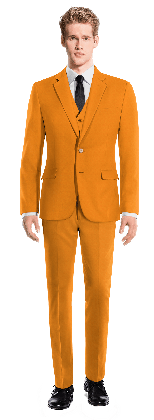 Orange 3-Piece cotton Suit