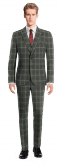 Grey 3-Piece checked 100% Wool Suit-View Front