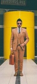 Abito 3 pezzi marrone 100% lana-denny1