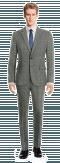 Costume gris 3 pièces à carreaux en Laine-Vue Avant