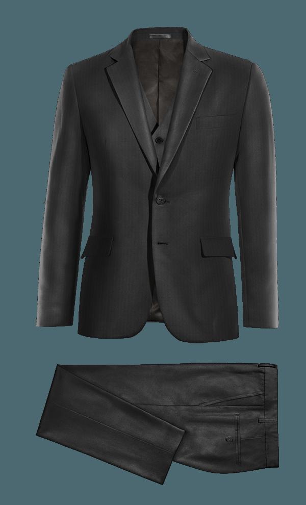 черный шерстяной Костюм-тройка