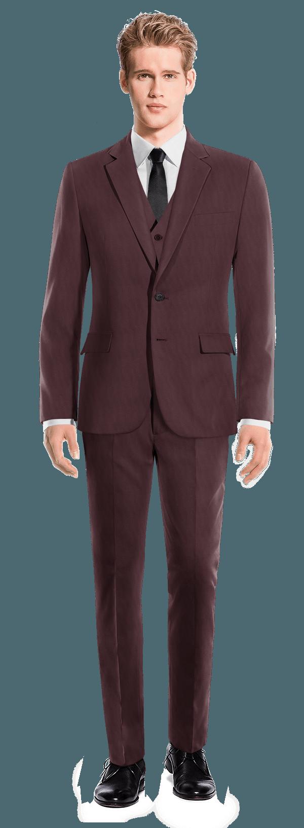 Costume rouge 3 pièces en Laine