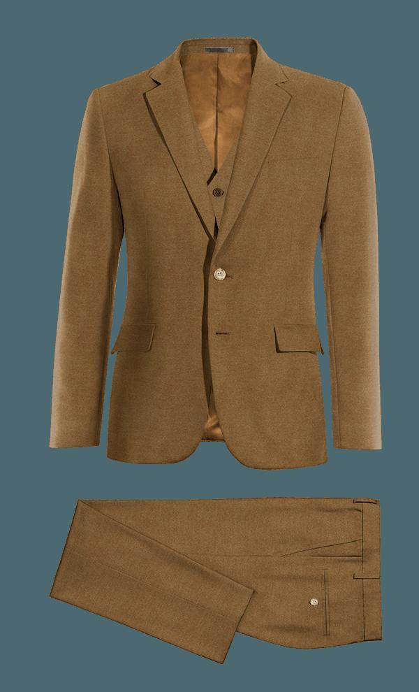Costume marron 3 pièces en Coton