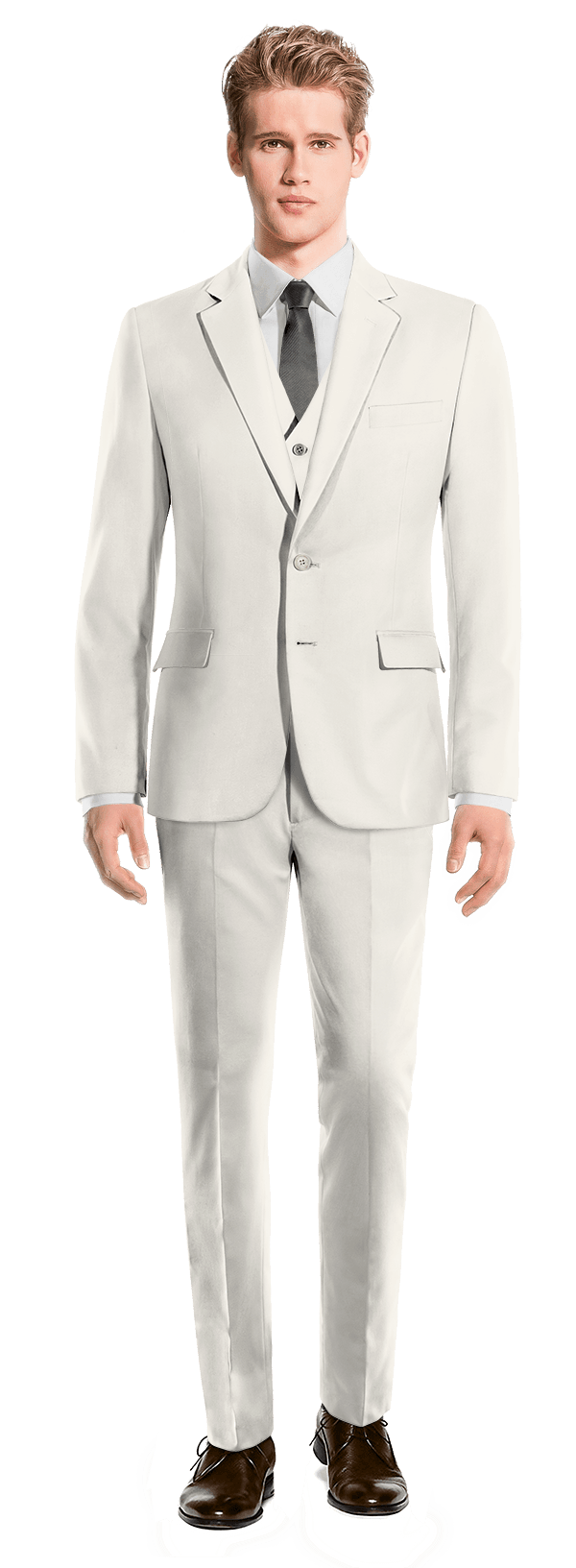 White 3-Piece wool Suit
