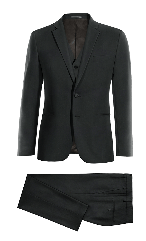 Black 3-Piece Merino wool Suit