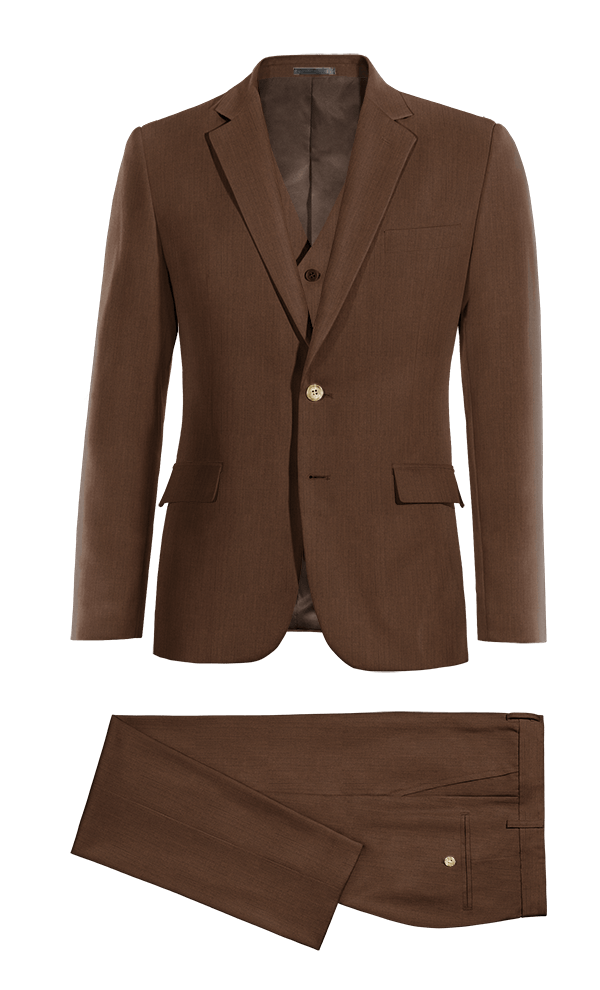 Brown 3-Piece linen Suit