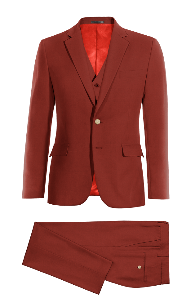 Red 3-Piece cotton Suit