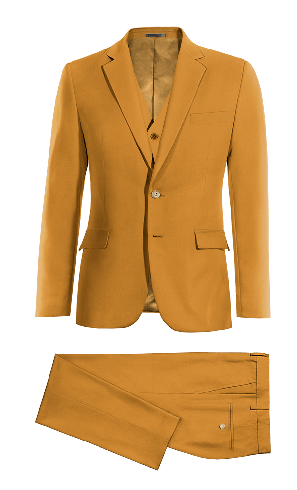 Yellow 3-Piece cotton Suit