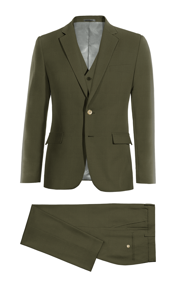 Green 3-Piece cotton Suit