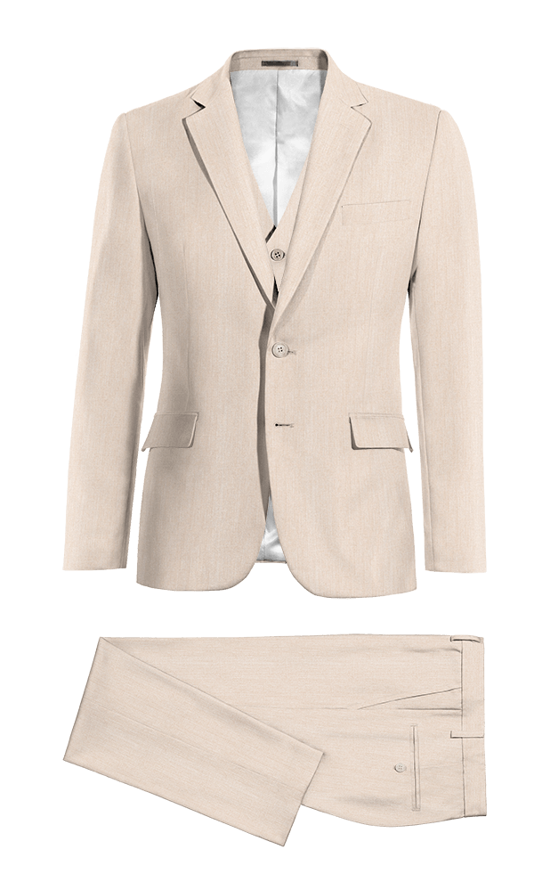 Beige 3-Piece wool Suit