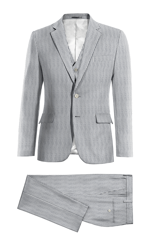 Blue 3-Piece striped seersucker Suit