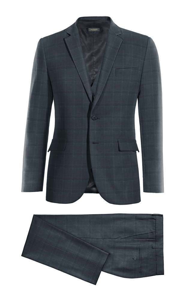 Blue 3-Piece checked Merino wool Suit