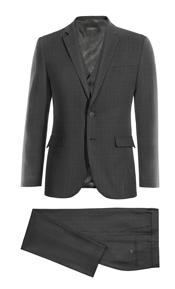 Grey 3-Piece striped 100% Wool Suit