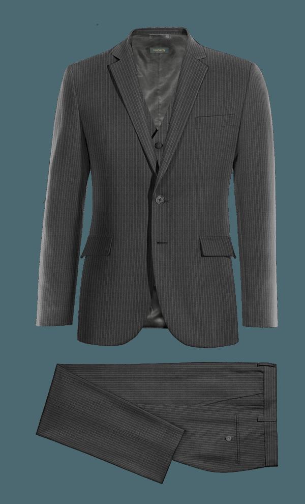 Costume gris 3 pièces à rayures 100% laine