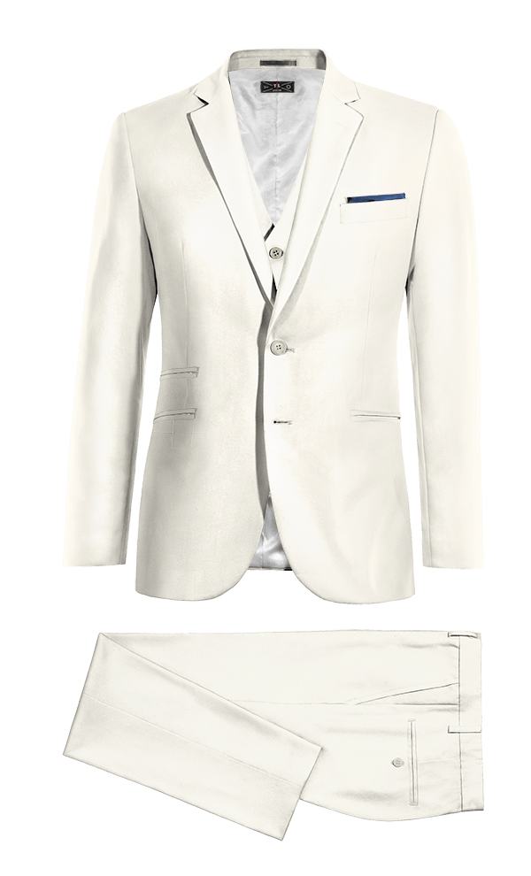 White 3-Piece polyester Suit