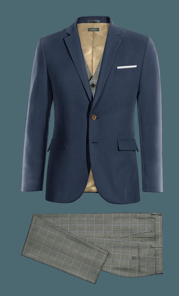 Blue 3-Piece 100% Wool Suit