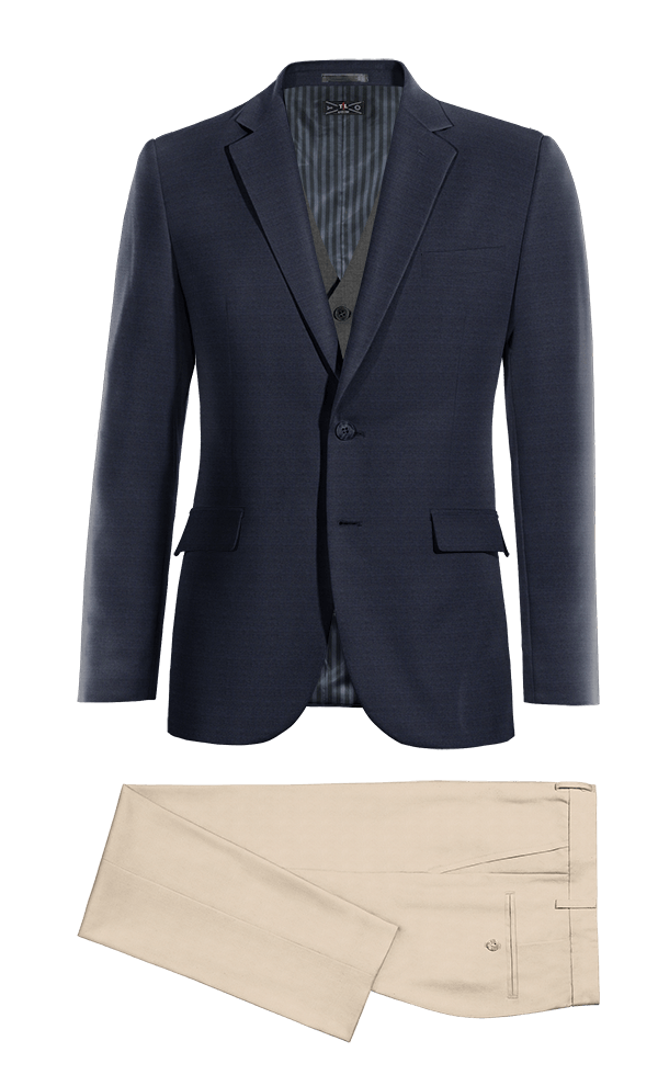 Blue 3-Piece Merino wool Suit