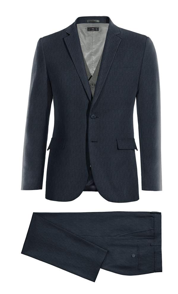 Blue 3-Piece striped Merino wool Suit