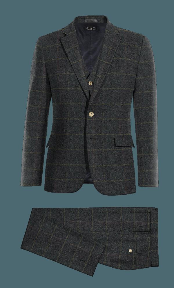 Costume bleu 3 pièces à carreaux en tweed