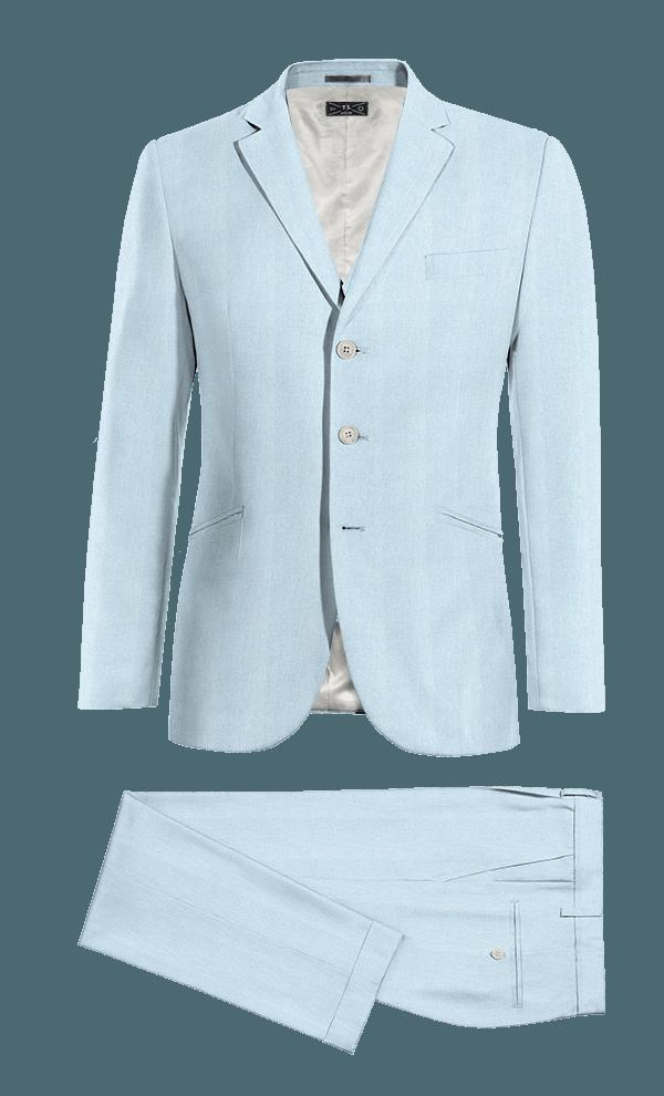 синий хлопковый Костюм-тройка