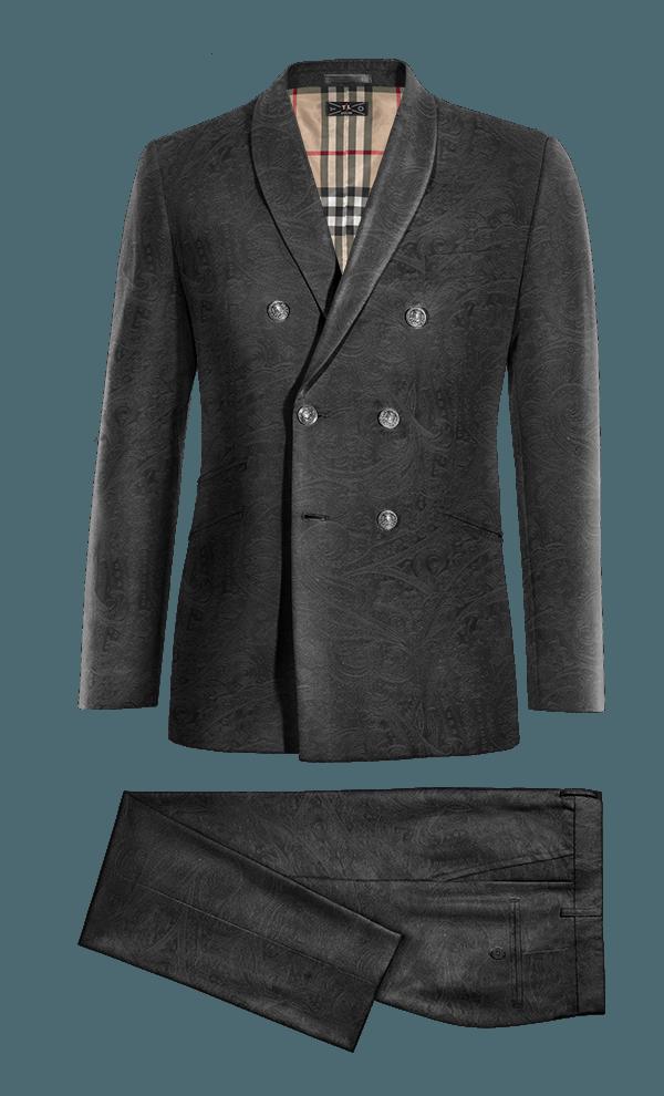 Costume noir 3 pièces paisley en Velours