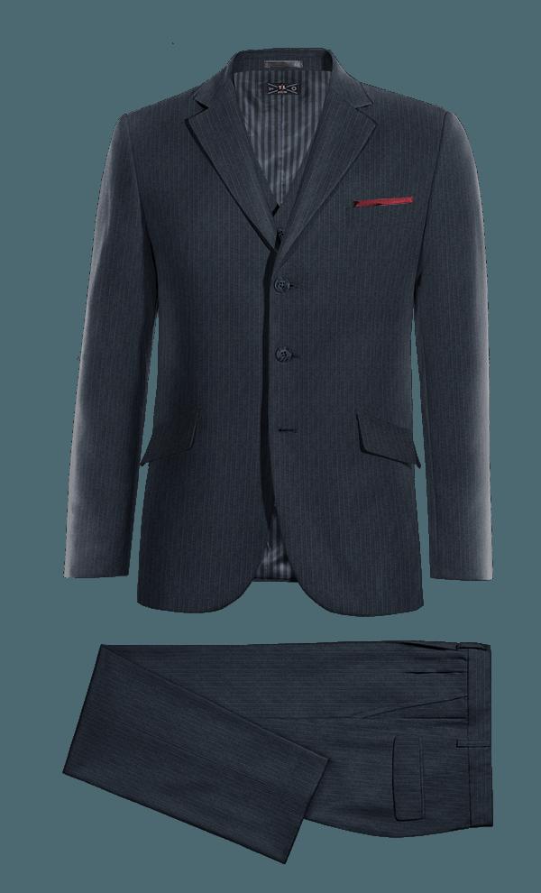Blue 3-Piece striped Merino wool Suit