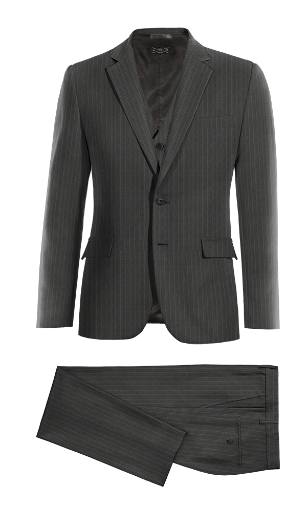 Grey 3-Piece striped wool Suit