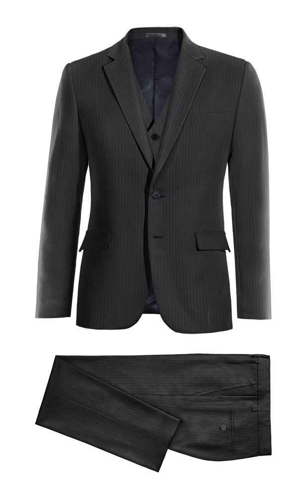 Blue 3-Piece striped 100% Wool Suit