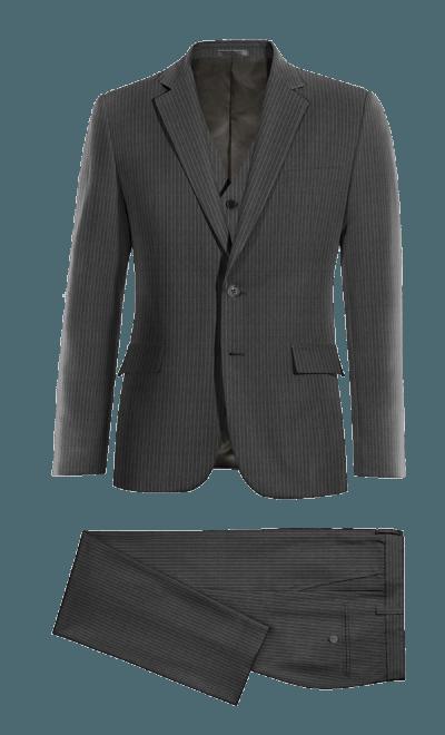 902d6b97a1c2 Grauer gestreifter reine Wolle Dreiteiliger Anzug