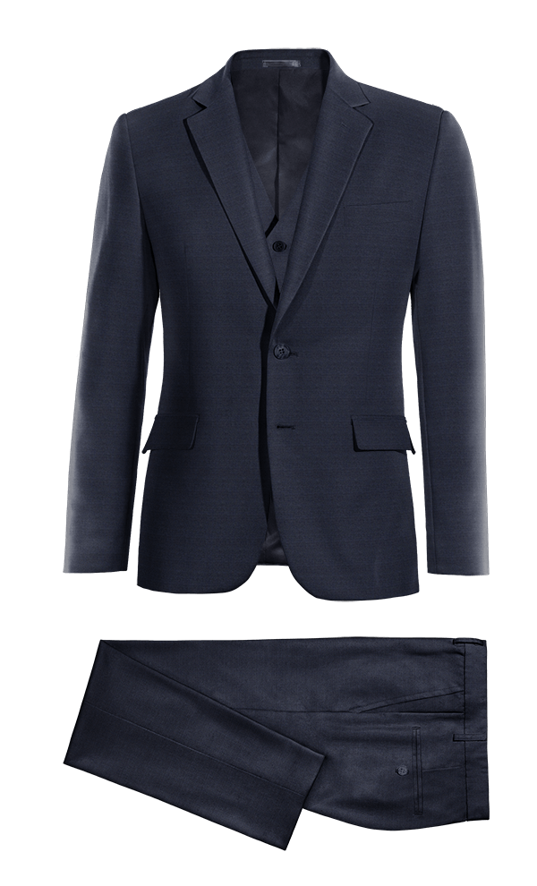 синий шерстяной Костюм-тройка