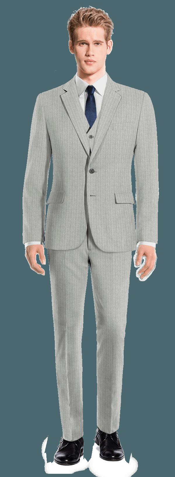 Grey 3-Piece striped linen Suit