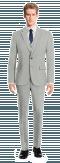 Grey 3-Piece striped linen Suit-View Front