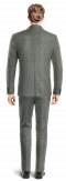 Grey 3-Piece checked wool Suit-View Back