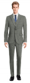 Grey 3-Piece checked wool Suit-View Front