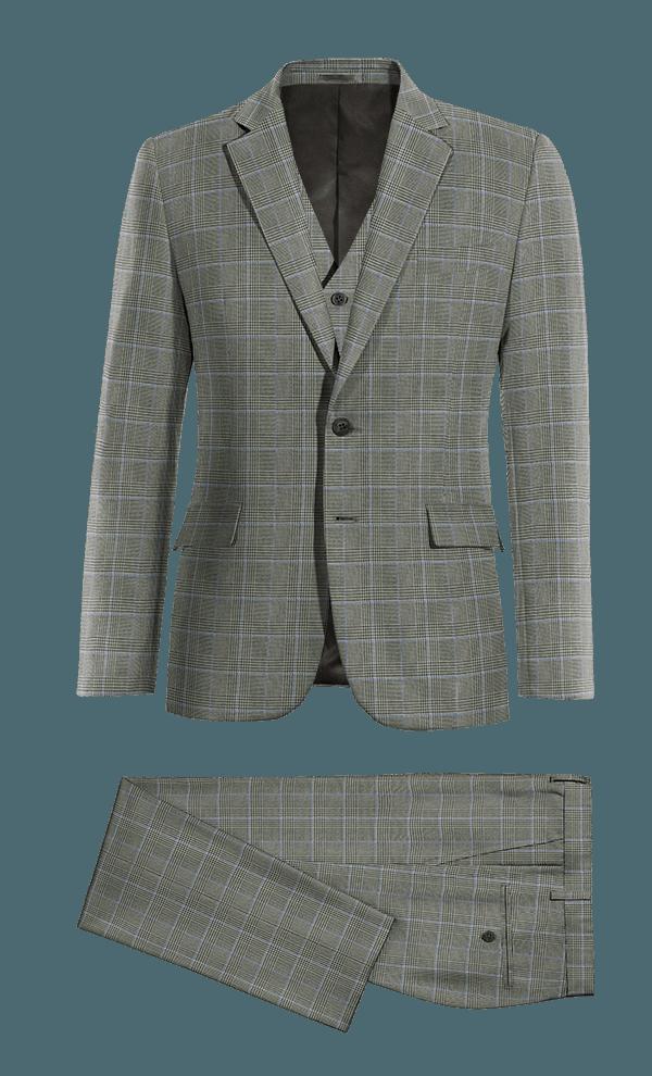 Costume gris 3 pièces à carreaux en Laine