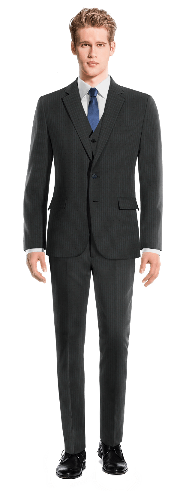 Blue 3-Piece striped wool Suit