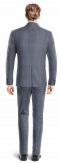 Blue 3-Piece striped linen Suit-View Back
