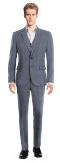 Blue 3-Piece striped linen Suit-View Front