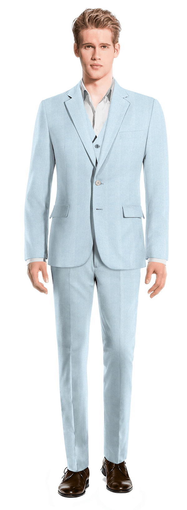 Blue 3-Piece linen Suit